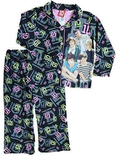 One Direction Girls Black & Pink Flannel Pajamas PJS Pajama 2 Piece Sleep Set Size 4