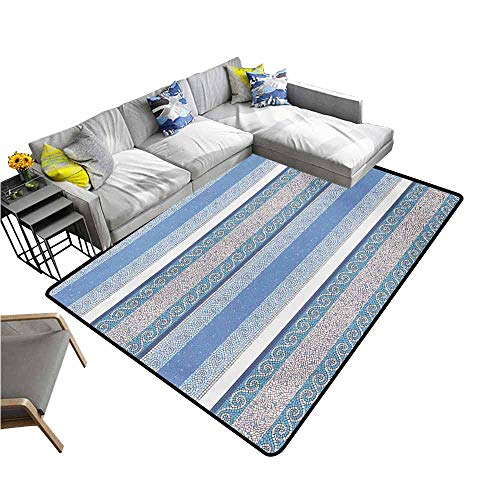 Front Mat Home Decorative Carpet Colorful Toga Party,Mosaic Inspired Borders in Antique Style Swirl Motifs Geometric Artistic,Blue White Beige 60