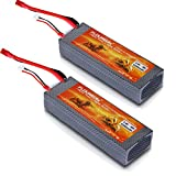 Floureon 2 Packs 30C 2S 7.4V 5200mAh Lipo Battery Hard Case with Dean-Style T Connector for RC Quadcopter Drone and FPV (5.51x1.89x0.98 Inch)