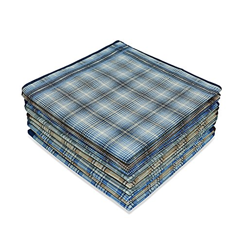 Star Heaven Men's Classic Plaid Cotton Handkerchiefs Pocket Square Monogrammed Hanky Bulk - 12 Pack (Color A) (Embroidered Tunic Heaven)
