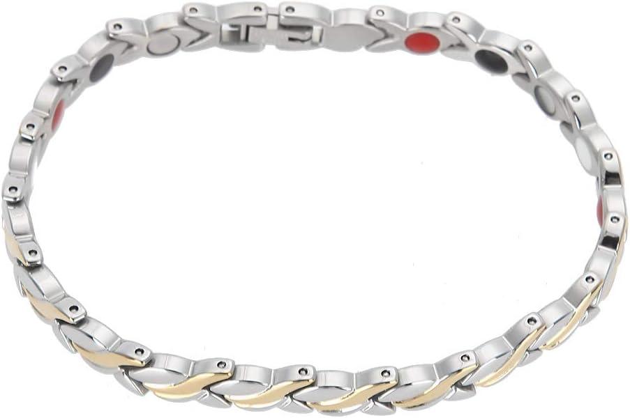 Pulsera Magnética, Brazalete de regalo, de joyería de cadena de pulsera con imanes para el cuidado de la salud de acero de titanio para mujer y niña