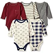 Hudson Baby Baby Infant Long Sleeve Bodysuit 5 Pack, Football, 0-3 Months