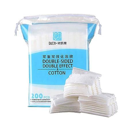 OUGEER 1 paquete de 200 piezas de algodón removedor de algodón doble removedor de maquillaje cosmético