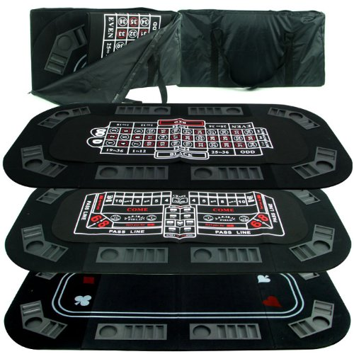 Superior 3 in 1 Poker/Craps/Roulette Tri Fold Table Top [10-18300] - by Trademark