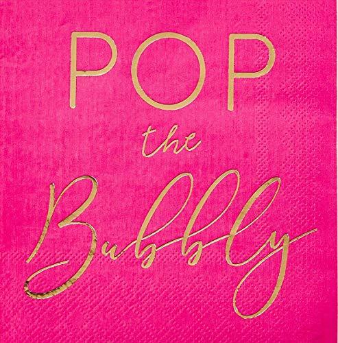 Juvale Pop The Bubbly Bachelorette Paper Party Cocktail Napkins (50 Pack) -