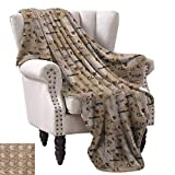 Anyangeight Weave Pattern Extra Long Blanket,Coffee Words Different Typographies Beans Cups on Abstract Vintage Backdrop 50''x30'',Super Soft and Comfortable,Suitable for Sofas,Chairs,beds