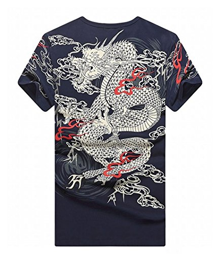 [POJ Japanese Rising Dragon T-shirt Front and Back Print [ L / XL / XXL / XXXL ] (XXXL, Navy blue)] (Group Costumes For 3 Guys)