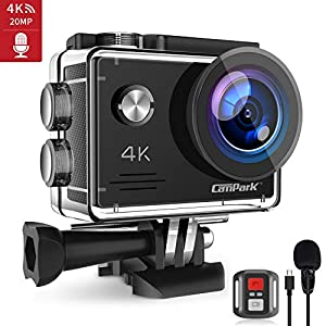 Campark X5 4K WiFi Action Camera 20MP Underwater Waterproof Cameras with EIS External Microphone Remote Control 170° Wide Angle Sports Cam with 2 Batteries and Accessories Kit