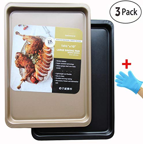 Baking Sheet Bakeware Pans Nonstick Bakeware Sheet Set Cookie Pan One black and One gold ( with a Heat resistant high temperature silicone gloves)3-Piece by funmei