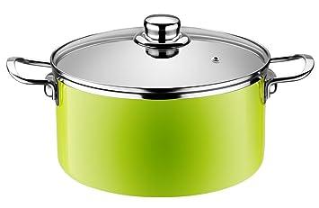 Monix Lima - Cacerola alta 20 cm de acero esmaltado verde con antiadherente Teflon® Classic.: Amazon.es: Hogar