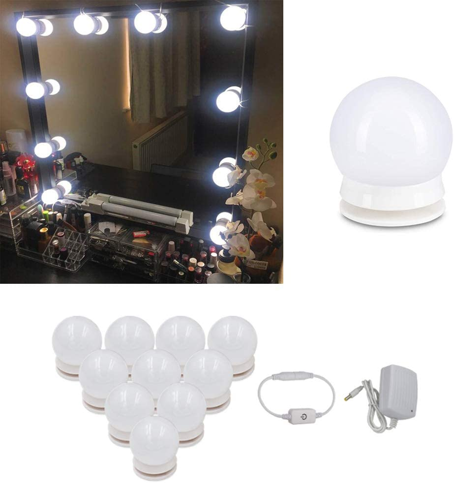 Vanity Mirror Lights Kit Dmeixs LED Vanity Lights Hollywood Style Makeup Lights Stick on with Touch Dimmer Waterproof Mirror Lights Strip with Power Supply LED Modules Lights for Vanity