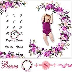 Baby Monthly Milestone Blanket Girl - Fl...