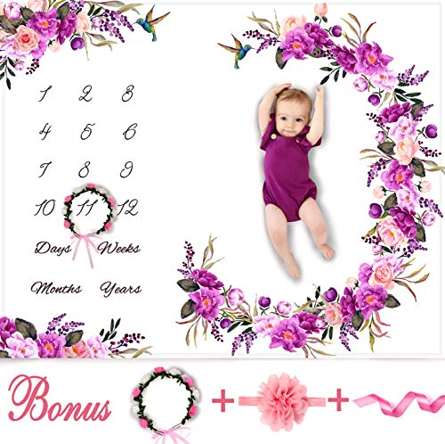 Baby Monthly Milestone Blanket Girl - Floral Plush Fleece Baby Photography Backdrop Memory Blanket for Newborns Large - New Moms Baby Shower Gift Set - 100% Wrinkle-Free - Bonus Wreath + Headband (Baby Shower Things For Girls)