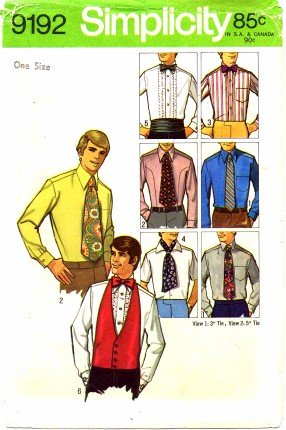 Simplicity 9192 Sewing Pattern Mens Accessory Package Bow Ties Ascot Cummerbund Vest