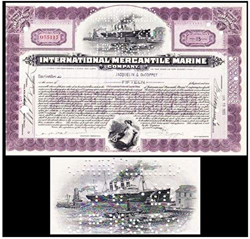 1918 SCARCE ORIGINAL TITANIC STOCK CERTIFICATE ENGRAVED IN 1902! HAND SIGNED! LAST OF THE LAVENDERS! Various Share Amounts EXTREMELY FINE ()