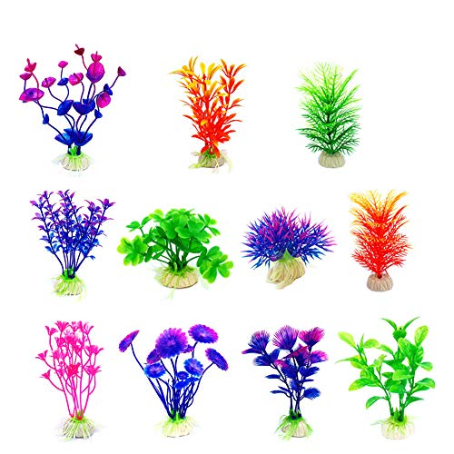 - CousDUoBe Artificial Aquatic Plants 11 Pcs Small Aquarium Plants Artificial Fish Tank Decorations,Used for Household and Office Aquarium Simulation Plastic Hydroponic Plants