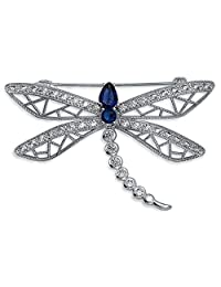 Bling Jewelry Rhodium Plated CZ Simulated Sapphire Dragonfly Brooch Pin