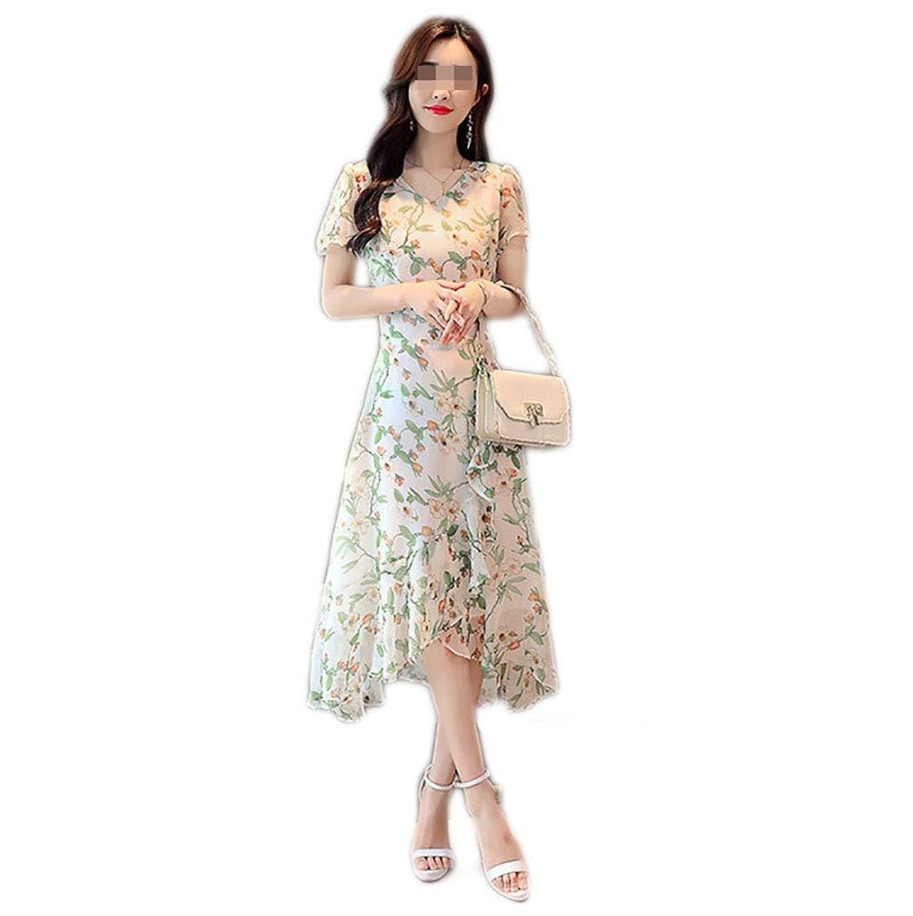 C Robe Fast Fashion - Maxi Plus La Taille Sheering Florale en Mousseline De Soie Manches Courtes Col en V Femelle Moyen Long Imprimé Jupe Base 4 Couleurs 5 Tailles (Couleur   D, Taille   XXXL) Large