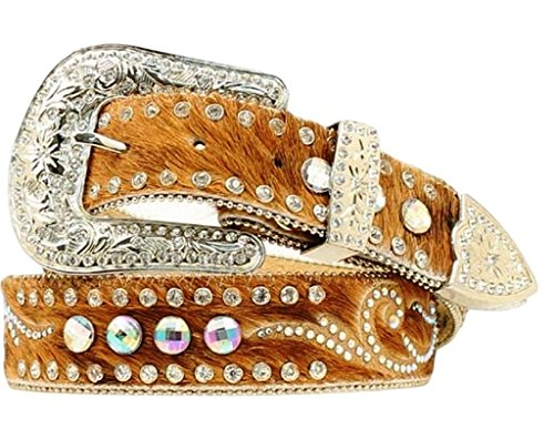 Nocona Women's Hair On Embellished Leather Belt Brown Large