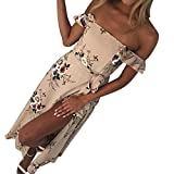 Kimloog Women Summer Off Shoulder Floral Printed Chiffon Long Maxi Dress Split Front Bowknot Beach Sundress (M, Khaki)