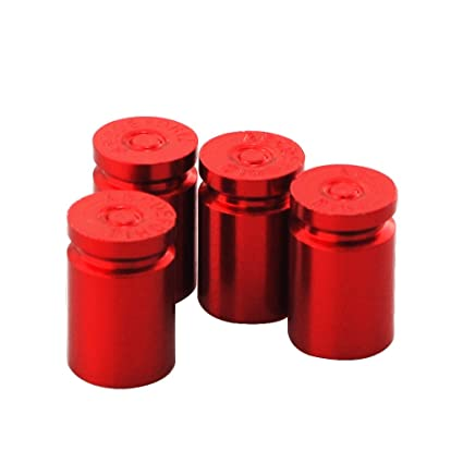 2 PCS Quality Red Grenade-Shaped Anodized Metal Replacement Valve Stem Caps