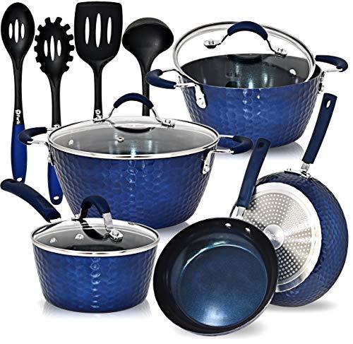 PERLLI Ceramic Nonstick Cookware Pots and Pans Set, 12 Pc Set Includes Frying Pans, Saucepans, Stock Soup Pot and Glass…