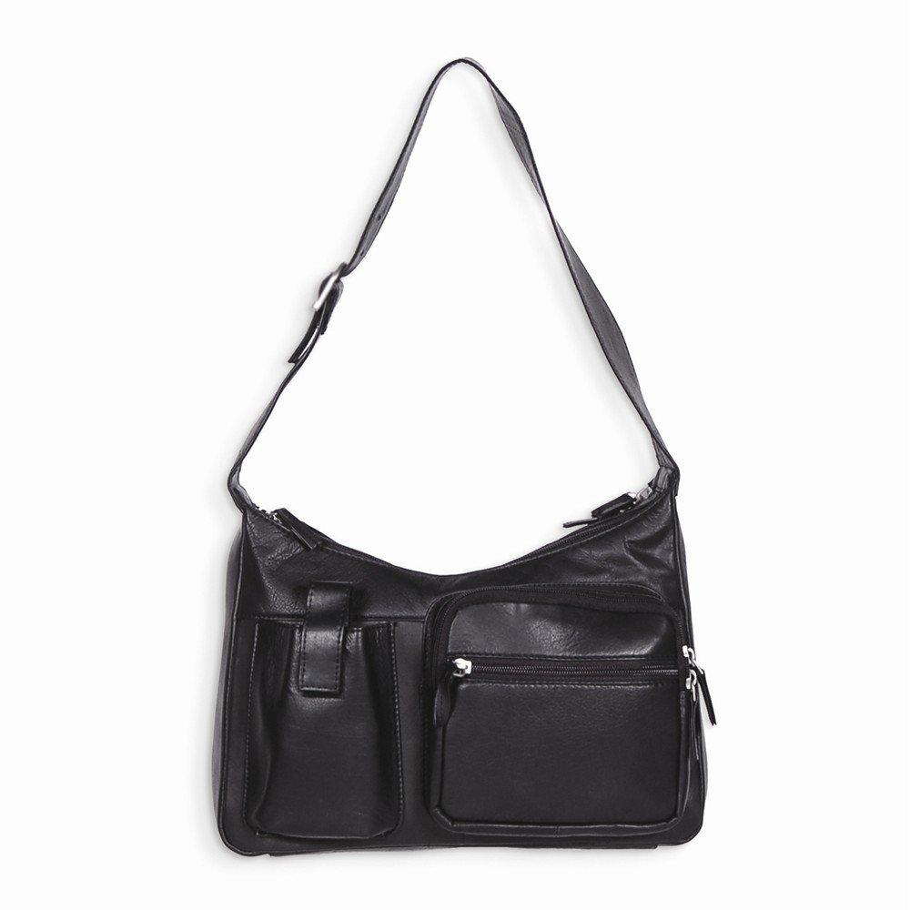 Best Birthday Gift Black Dbl Zipper Hobo w/ Front Cell Phone Pocket