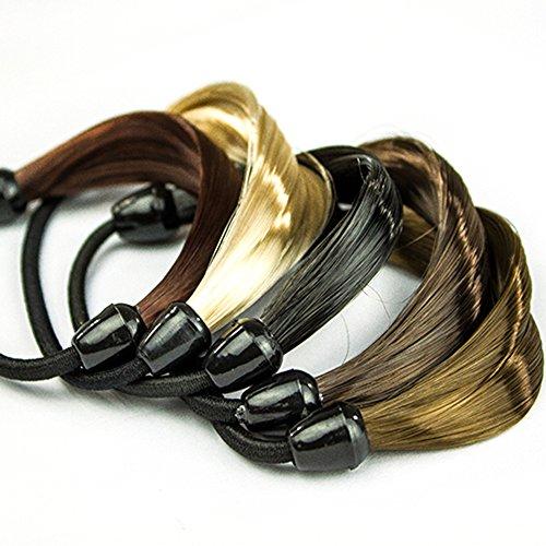 Polytree 5pcs Women's Fashion Braid Straight Wig Elastic Hair Band Ponytail Holders (Braid With Ponytail)
