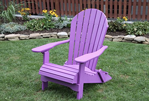BRIGHT PURPLE-POLY LUMBER Folding Adirondack Chair with Rolled Seating Heavy Duty EVERLASTING Lifetime PolyTuf HDPE - MADE IN USA - AMISH CRAFTED