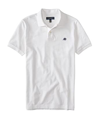 22cb73f9 Image Unavailable. Image not available for. Color: Aeropostale Men's A87  Solid Logo Piqu? Polo Shirt Xl Bleach