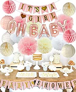 Girls Baby Shower Party Decorations It's A Girl Baby Shower Decorations Kit with Oh Baby Foil Balloons It's A Girl Banner Tissue Paper Pompoms Lanterns Honeycomb Balls