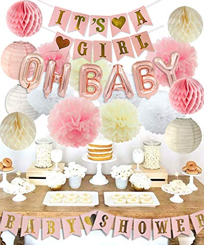 LUCK COLLECTION Girls Baby Shower Party Decorations It's A Girl Baby Shower Decorations Kit with Oh Baby Foil Balloons It's A Girl Banner Tissue Paper Pompoms Lanterns Honeycomb Balls