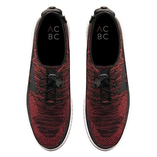 ACBC Scarpa Sneakers con Stringa Knit Suola Bianca e Scarpa Nera - Rosso con Zip