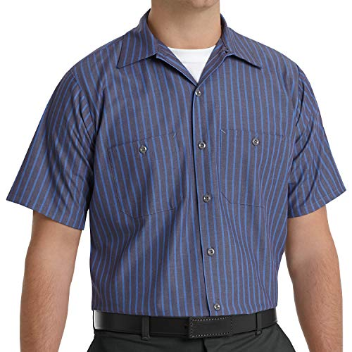 Red Kap Men's Industrial Stripe Work Shirt, Grey/Blue Stripe, Short Sleeve 4X-Large