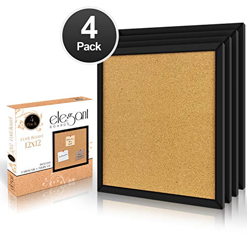 "Elegant Boards 4 Pack Cork Bulletin Board 12""X 12"" Square Wall Tiles, Modern Black Framed Boards for Home and Office (Hardware and Template Included)"