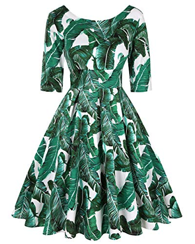 MINTLIMIT 50s Retro Crew Neck Rockabilly Floral Audrey Dress Cocktail Girls Retro Dress (Floral Green,Size XL)]()