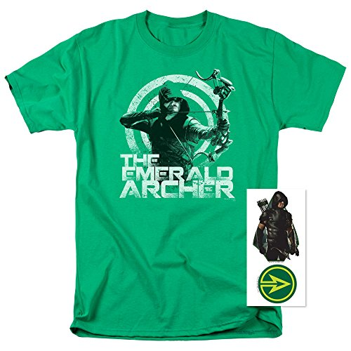 Popfunk Arrow TV Show The Emerald Archer DC Comics T Shirt & Stickers (Large)