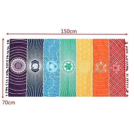 Esterilla de yoga tapiz Rainbow 7 Chakra rayas toalla de ...