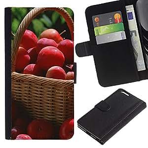 KLONGSHOP // Tirón de la caja Cartera de cuero con ranuras para tarjetas - Frutas Macro Manzanas Rojas - Apple Iphone 6 PLUS 5.5 //