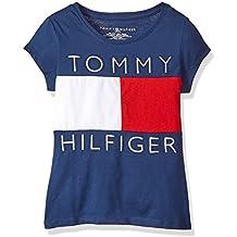 Tommy Hilfiger Big Girls' Pieced Flag Tee, Flag Blue/Red/White, Medium