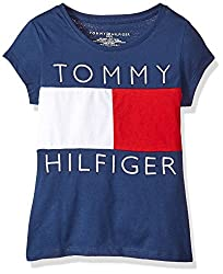 Tommy Hilfiger Big Girls' Pieced Flag Tee, Flag Blueredwhite, Medium