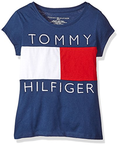 Tommy Hilfiger Big Girls' Pieced Flag Tee, Flag Blue/Red/White, Medium (Tommy Tee Hilfiger Girls)