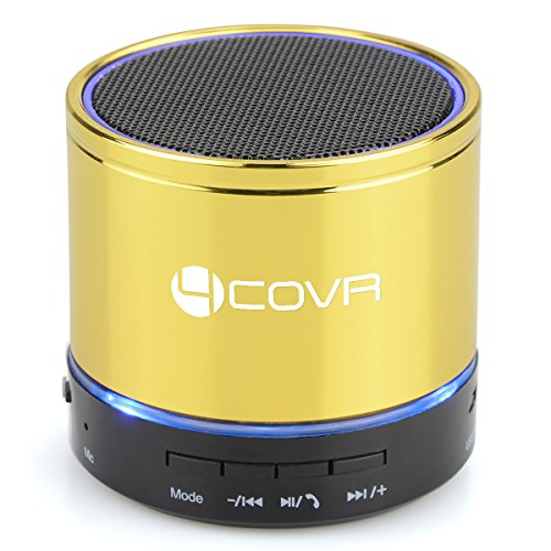 Portable Wireless Bluetooth Speakers, Forcovr Bluetooth Speaker with HD Sound &Enhanced Bass, Mini Stereo Surround Outdoor Speaker with Built-in Mic for iPhone, iPad, Samsung, PC, Computer(Golden)