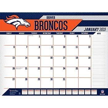 January 2019 Calendar Denver Amazon.: Turner Licensing Denver Broncos 2019 Desk Calendar