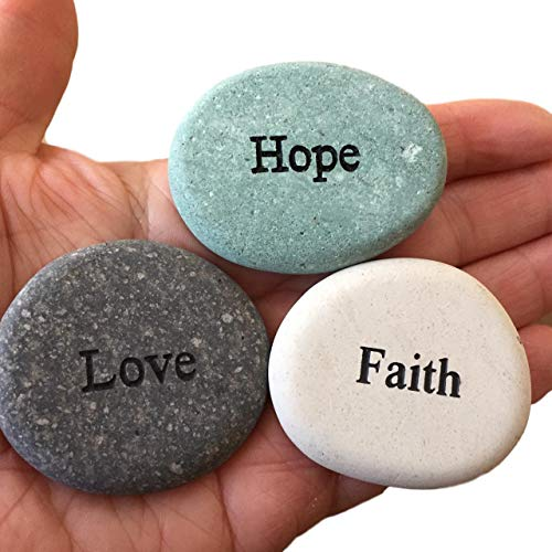 Faith Hope Love Engraved Stones – 3 Stone Set