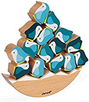 Janod World Wildlife Federation – Balancing Penguin Wooden Rocking Game for Hand-Eye Coordination and Fine Mot