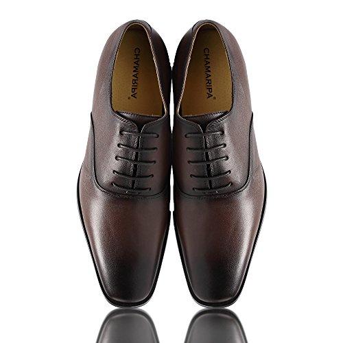 CHAMARIPA Chaussure à Talonnette Grandissante Cuir Tuxedo Soulier Chaussure rehaussante Plus grand 7,5 cm