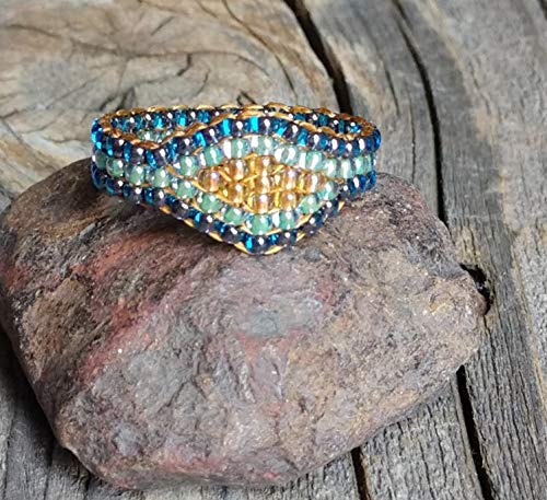 (Hand Stitched Cobalt Blue Crystal Honey Gold Sea Mist Green Custom Sparkly Bead Ring Nickel Free)