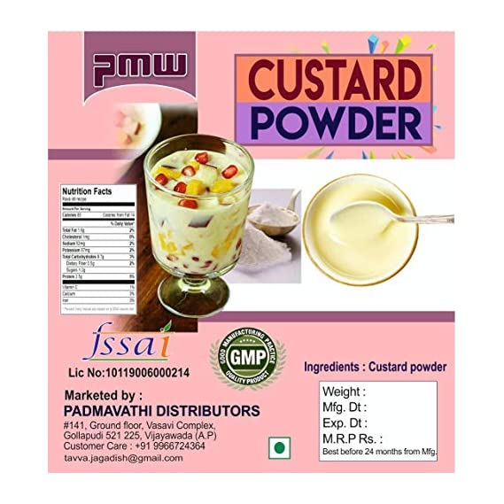 Pmw - Grade A Quality - Custard Powder - for Cakes Pies Cream - 500 Grams