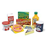 Melissa & Doug Fridge Food Wooden Play Food Set, Pretend Play, Hand-Painted Wood, Sturdy Construction, 9 Pieces, 26.67 cm H x 33.02 cm W x 6.985 cm L